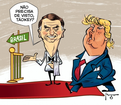 Charges repercutem visita de Bolsonaro aos EUA