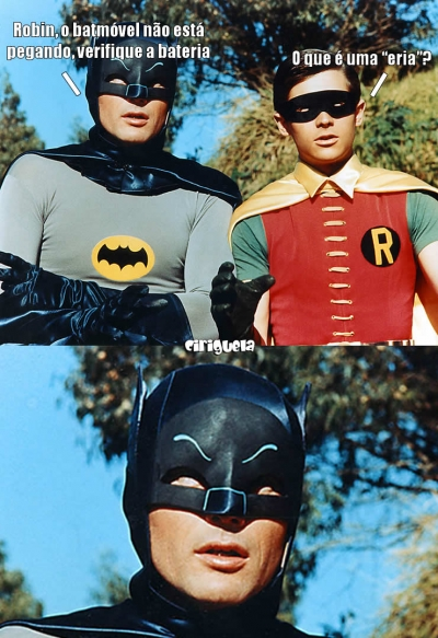 Batman e Robin com problemas no batmóvel