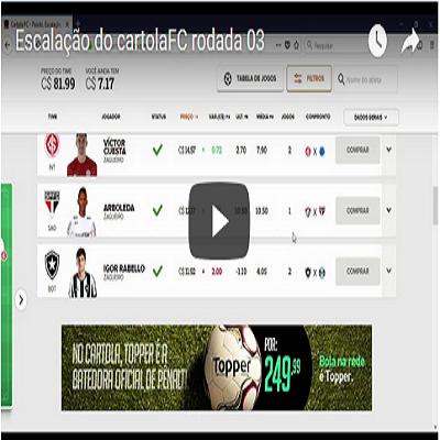 Escalação do cartolaFC rodada 03