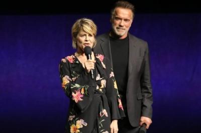 """Linda Hamilton e Schwarzenegger se reencontram em novo """"Exterminador"""""""