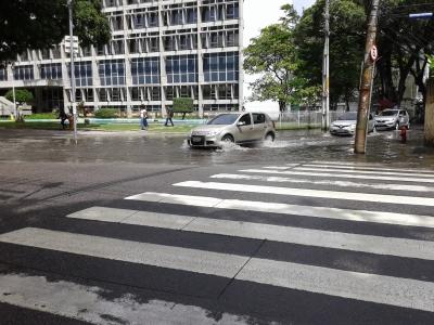 Rua alagada quando chove