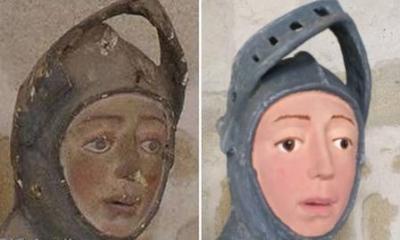 Estatua de são Jorge ganha restauração cômica
