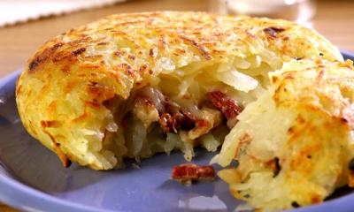 Batata com carne seca e requeijão