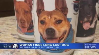 Mulher encontra cachorro desaparecido em lata de cerveja