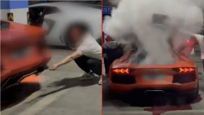 Motor de Lamborghini quebra após dono tentar grelhar carne no escapamento