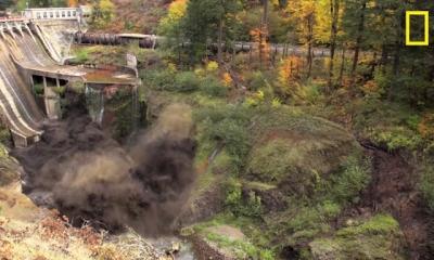 Barragem é destruída após quase 100 anos, veja o momento exato