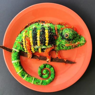 Artista usa comida para criar arte