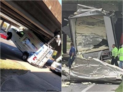 30 Fotos de caminhões e ônibus que tentaram caber embaixo de uma ponte e se arre