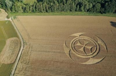 Agroglifo gigantesco em campo de trigo atrai atenção de curiosos na França