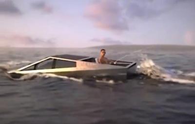 Cybertruck da Tesla aparece na 'versão bote' em vídeo hilário; assista