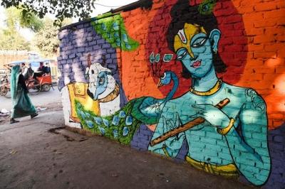 Grafite nas favelas de Raghubir Nagar - Índia [18 fotos]