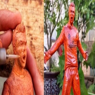 Artista faz incrível escultura de madeira de Cristiano Ronaldo