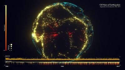 Mapa mostra 120 anos de terremotos ao redor do globo