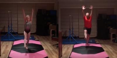Pai tenta (sem sucesso) copiar movimentos de ginástica da filha