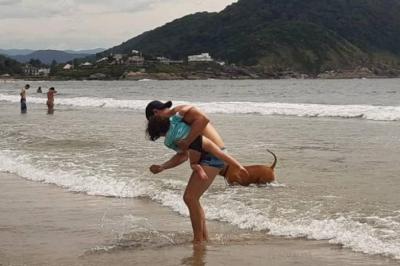 Homem salva criança atacada por cão no mar do Guarujá
