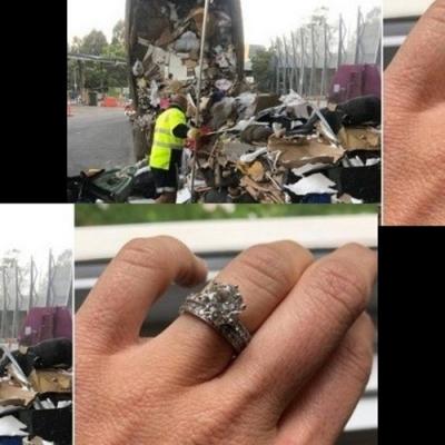 Casal revira lixo em caminhão para achar anel de noivado e aliança de casamento