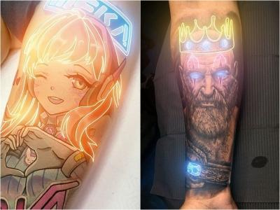 Um animador de 19 anos usa efeitos neon para destacar tatuagens clássicas