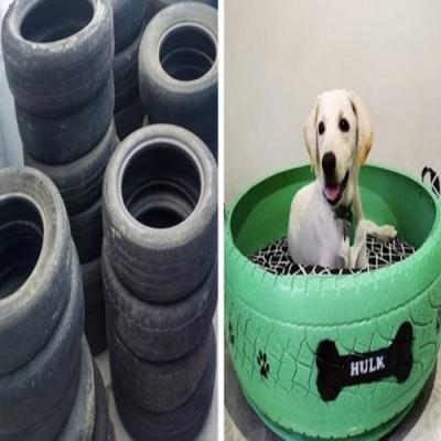 Homem transforma pneus velhos em incríveis camas para animais de estimação