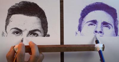 A impressora humana desenha dois retratos ao mesmo tempo