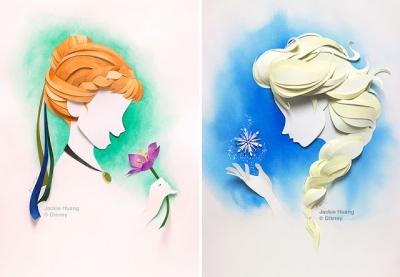 Personagens da Disney feitos apenas com tiras de papel