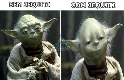 Mestre YODA antes e depois de usar cosmético