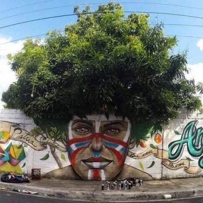 As obras de arte urbanas que interagem inteligente com a natureza