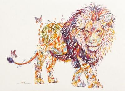 Artista pinta animais ao pintar flores