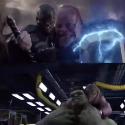Cap vs Thanos na cena Endgame é exatamente o mesmo que Thor vs Hulk em Vingadore