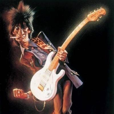 Caricaturas de astros do rock e heavy metal