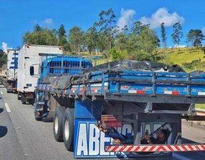 Motorista improvisa rede em caminhão e