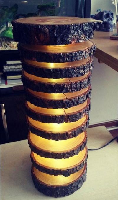 Como fazer uma luminária rustica com um tronco