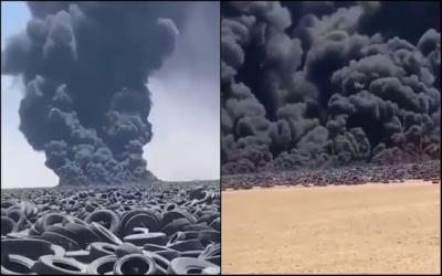 Maior lixão de pneus do mundo pega fogo e cria fumaça imensa