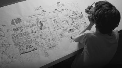 Artista desenha uma linha por 24 horas seguidas para formar um desenho