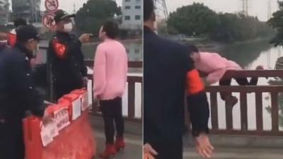 Mulher se joga de ponte ao ser barrada em bloqueio contra coronavírus por estar