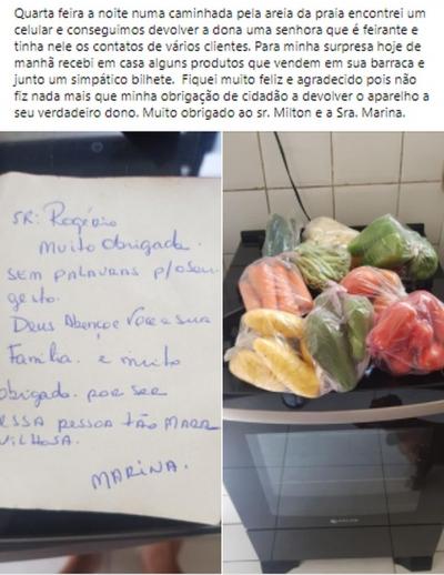 Empresário devolve celular perdido a feirante, recebe alimentos de agradecimento
