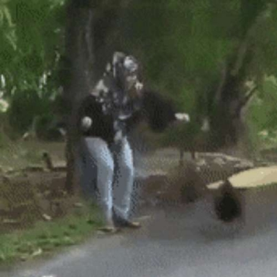 Se defendendo de uma galinha