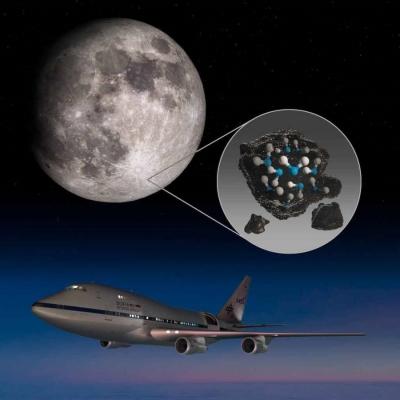 SOFIA descobre agua na superfice iluminada da Lua