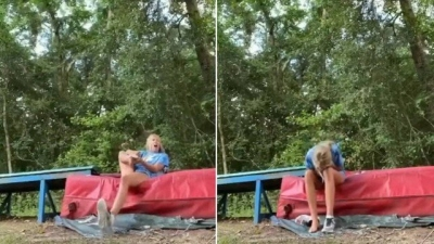 Vídeo mostra momento em que animadora de torcida é picada por cobra venenosa