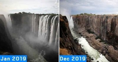 As Victoria Falls, secaram no espaço de um ano