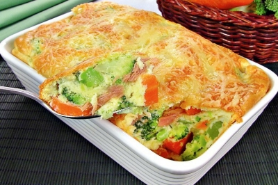 Suflê de batata com atum e queijo
