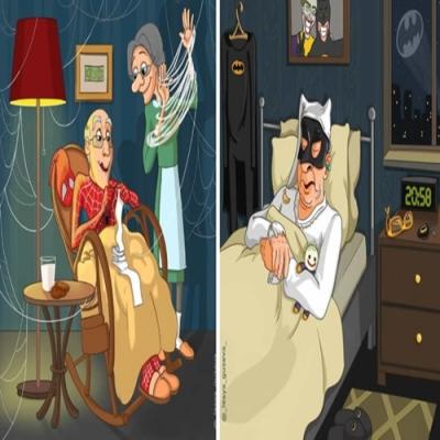 Ilustração mostra como seria os super-heróis e vilões na versão idosa