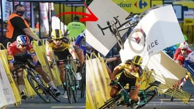 Ciclista empurra seu oponente e causa acidente incrível