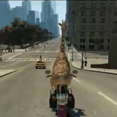 Girafa dando role de moto