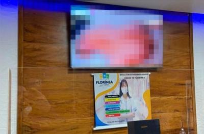 Vídeo pornô é exibido em TV de unidade de saúde e prefeitura de Florínea registr