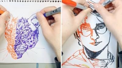 Artista desenha usando as duas mãos ao mesmo tempo