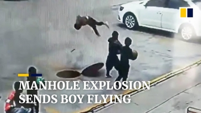 Menino joga bombinha em esgoto e saí voando