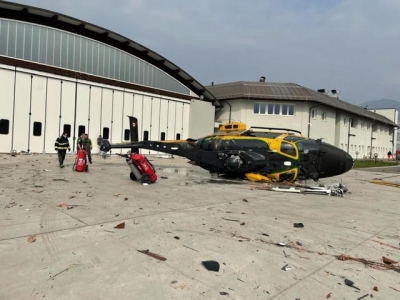 Helicóptero se destrói antes mesmo de decolar