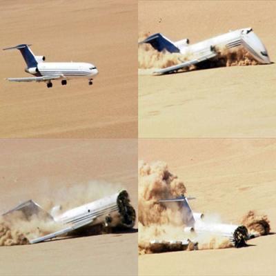 Veja como seria a queda de um Boeing 727 no deserto