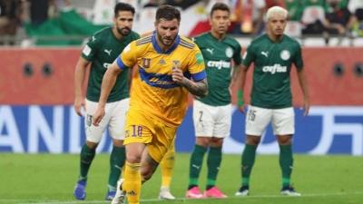 Com gol de pênalti, Tigres é superior, vence, e Palmeiras da adeus ao Mundial