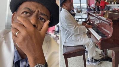 Pianista de aeroporto ganha mais de R$ 320 mil de gorjeta e se emociona